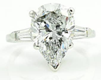 5.50 ctw Pear with Baguettes Simulated Diamond 14k Yellow Gold