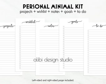Minimal Kit, Personal Planner, Printable Notes, To Do List,  Goal Tracker, Personal Inserts, Printable Planner, Projects Planner, Wish List
