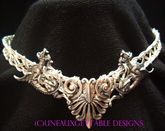 Celtic Dragons Warrior Crown Silver Metal Circlet adjustable for men and women larp ren sca