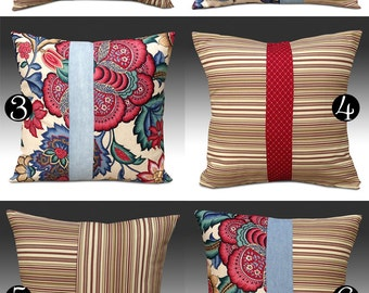 Designer Pillow Cover, Decorative Throw Pillow, Custom Made Pillow Cover, Red Indoor/Outdoor Pillow Cover