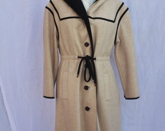 1960s Youthcraft Beige Wool Coat with Hood