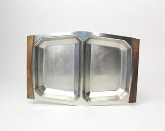 Vintage Danish Steel & Wood Divided Serving Dish - Mid Century Modern Serving Snack Tray Scandinavian Design Minimalist - Made in Denmark