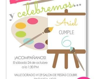 Printable birthday invitation. Festival of art, painted art, printable, digital.