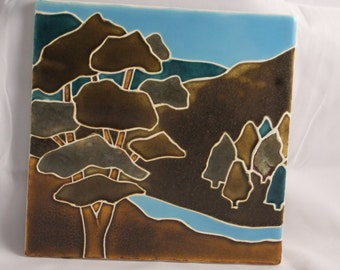 Ceramic Landscape Tile-Tree and River Lt Blue