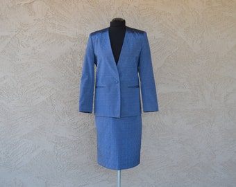 80s Steel Blue Power Suit | 1980s Skirt and Jacket