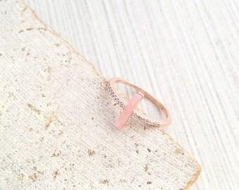 Rose Gold Ring,Rose Gold Stone Ring,Rose Gold Cubic Ring,Rose Stone Ring,Stone Ring,Cubic Stone Ring,Pink Stone Ring,Rose Marble Ring