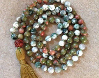 Tree agate and Unikite Mala