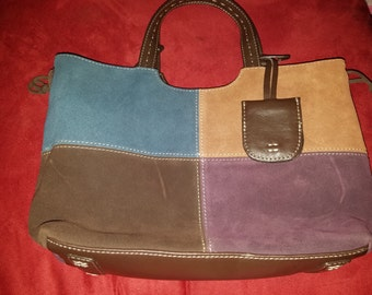 12 by 9 by 4  Alfani patchwork  leather suede tote! Handbag!