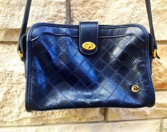 Navy faux leather shoulder bag