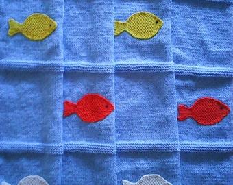 Knitted Light Blue Baby Blanket