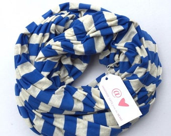 Bright Colors Infinity Scarf: Blue Striped