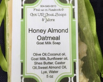 Goat Milk Honey Almond Oatmeal Soap 5 oz bar