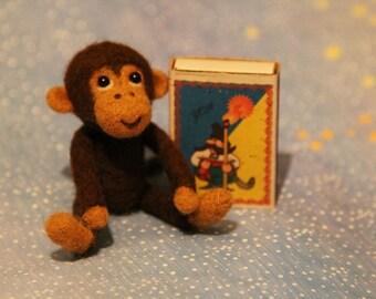 Match box size needle felted monkey symbol of 2016 year