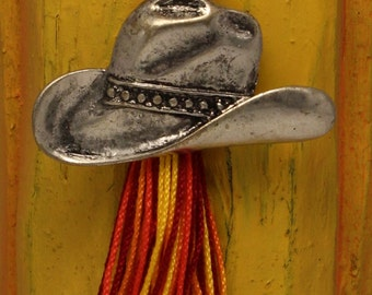 Cowboy Hat Orange Tassel Pendant Necklace