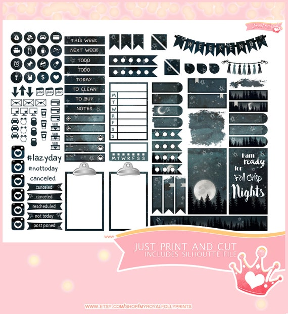 Fall Night | Printable Planner Stickers | Happy Planner | Instant Digital Download with Silhouette file