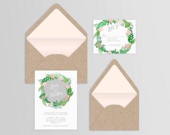 Watercolor Floral Wreath Wedding Suite - Set of 25 or Digital