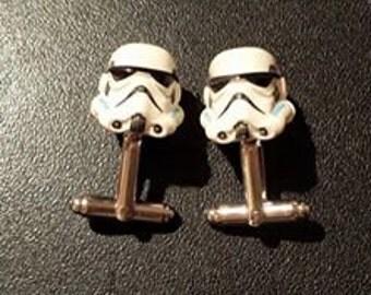 white storm trooper cufflinks (star wars)
