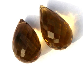 2 Pcs 1 Match Pair 16x10-18x10 mm Beer Quartz Faceted Teardrop Briolettes , Jewelry Making, Earring Pair , BR201