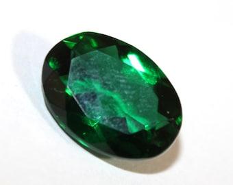 16x12 mm Emerald Green Quartz Faceted Oval Cut Gemstone, Loose Gemstone Beads A103