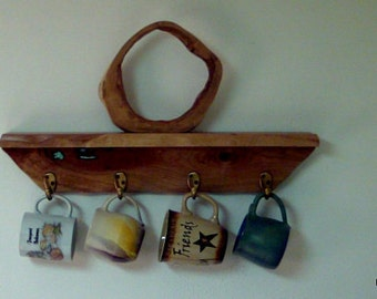 Abstract Wood Sculpture With Turquoise Inlay.  Cherry Wood Wall Coffee Mug Rack.  Functional Sculpture. Unique mug shelf with hooks. Gifts