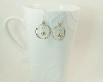 Silver Triple-Hoop & Golden Pearl Earrings