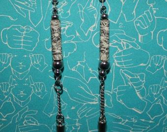 Black and White Spike Paper Bead Earrings