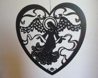 Angel's Love, Heart shaped metal art wall decor with durable powder coat finish
