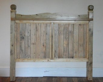 Rustic handmade chunky reclaimed wood double headboard