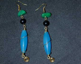 Colored Bead and Stone Earrings