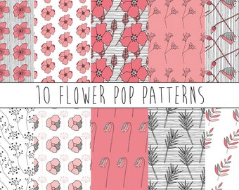 Seamless Pattern Bundle - Flower Pop Patterns - Repeating Pattern Design - Instant Download - Unique Hand Drawn Pink Florals Commercial Use