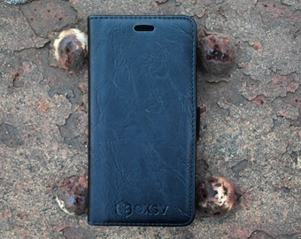 OXSY Black Leather Case | iPhone 6 Cover | iPhone 6S Case | Leather iPhone Case |  Leather Wallet | Gift Idea | Apple Case