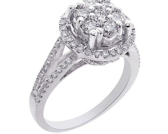 1.35 Carat G-SI1 Round Cut Cluster Split Shank Diamond Engagement Ring 14K White Gold