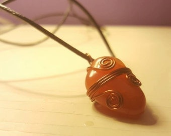 Copper Wire Wrapped Carnelian & Leather Cord