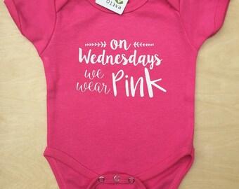 On Wednesdays we wear Pink Baby girl Bodysuit, Baby girl clothes, Baby Shower gift, Baby Gift, Boho Baby Girl, Baby Girl Clothing