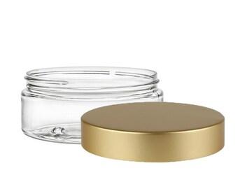 10 Clear Jars with Brushed Gold Lids | Plastic Jars for Body Butter, Sugar or Salt Scrubs | SET of 10 - 4oz (118ml)