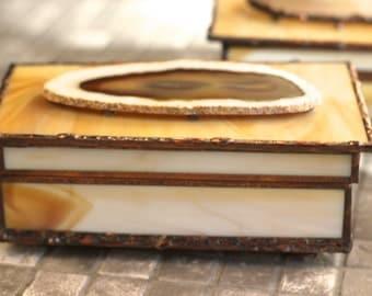 Agate Slice Glass Box - White Ringed Agate