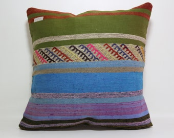24x24 Embroidered Pillow Home Decor Kilim Cushion Cover Large Blue Green Pillow Floor Pillow Kilim Cushion Case Boho Pillow SP6060-488
