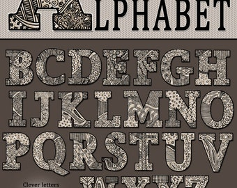 DJ Zen-Doodle Alphabet Clip Art