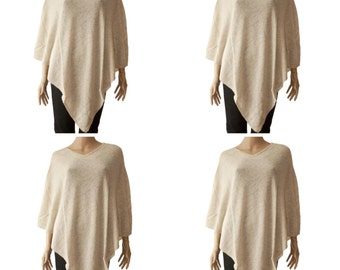 Off-White 100% Cashmere Poncho One Size Handloomed