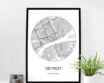Detroit Map Print - City Map Art of Detroit Michigan Poster - Coordinates Wall Art Gift - Travel Map - Office Home Decor