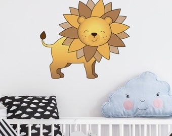 Lion | Animals Cute Nature Safari Zoo Creatures Nursery Kids Children's Bedroom Playroom Decal | Removable Vinyl Wall Sticker