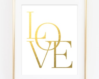Love Printable, Love Wall Art, Gold Love Print, Gold Typography Poster, Gold Typography, Gold Love Letters, Gold Love Sign, Love Art Print