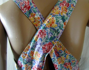 1980'S Laura Ashley Floral Sundress, Laura Ashley, Sundress, Jumper, Open Back, Drop Waist, Ditsy, Colorful, British, 1980's, 1990's, Small
