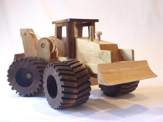 Wooden Toy Log Skidder : Log skidder with logs handmade wooden toy