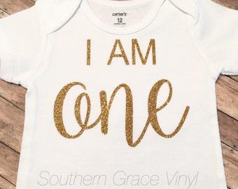 First Birthday Outfit| I AM One Onesie| 1st Birthday Onesie
