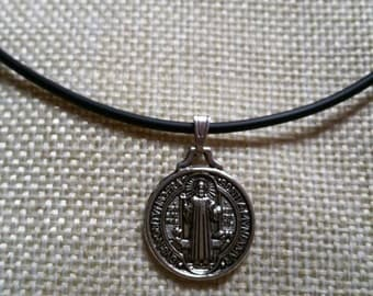 Christian Saint Benedict Jesus Christ Pendant Choker.. 'Double-Sided'.. 'Easter/Religious/Jesus' Theme.. With FREE Gift Bag!