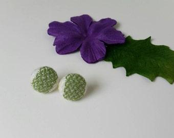 Girasol Small Stripe Zenith - Wrap Scrap Earrings - Girasol Wrap Scrap - Earrings - Green and White