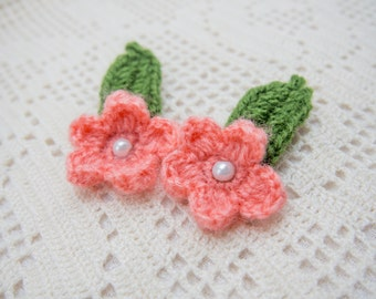 Set of flower and leaf hairclip , crochet