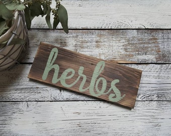 Herb Sign, Garden Sign, Made To Order, Gift For Gardener, Plant Signs, Outdoor Decor, Reclaimed Wood Signs, Hand Painted Signs, Rustic Decor