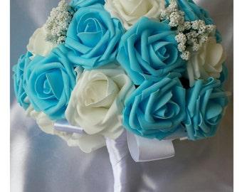 Light Blue Bridal Bouquet Wedding bouquet Bride Bouquet Blue Wedding Bouquet Foam Rose Bouquet Foam Flower Bouquet Blue Bouquet Wedding